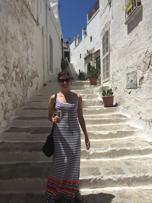 Caroline on a street in Ostuni, the white city.