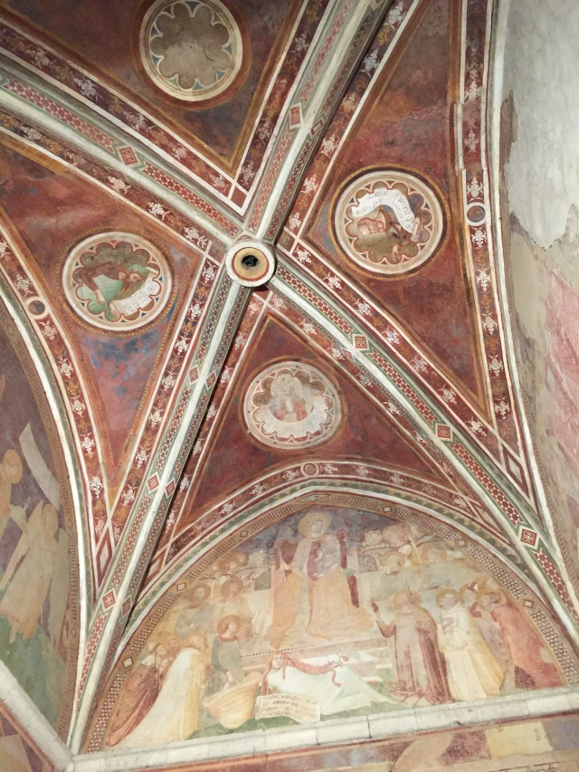 Frescoes relating the life of San Galgano, Madonna and Child with Eve reclining, Evangelists.