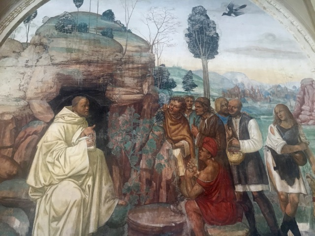 Benedict instructs the contadini (peasants).