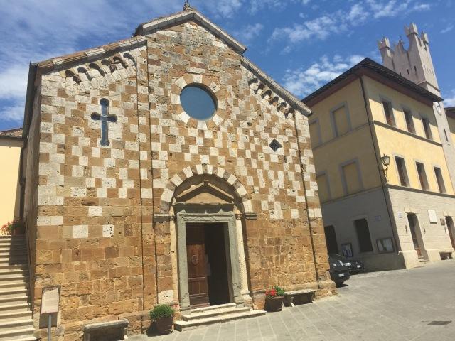 Little church of Trequanda. I love the checkerboard facade.