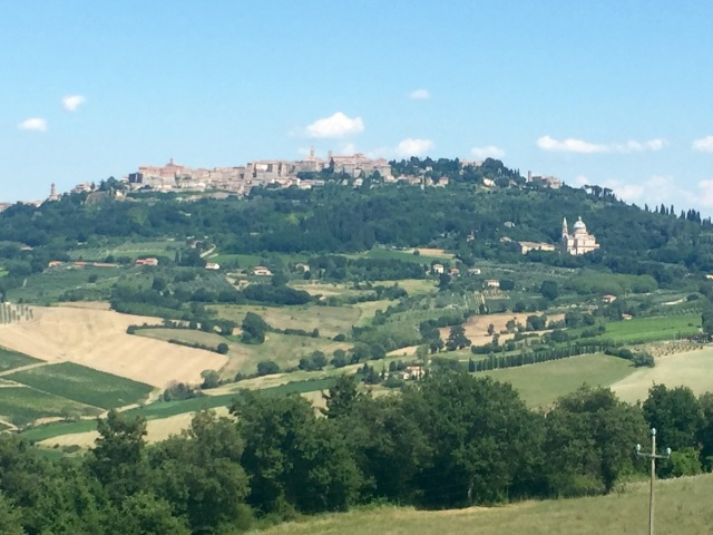 Montepulciano in the distance with San Biagio